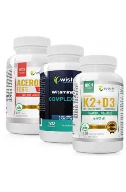 Zestaw Witamina B Complex + Acerola + K2 100mcg MK-7 z natto + D3 50mcg 2000IU in MCT oil