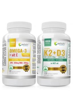 Zestaw OMEGA 3 1000 mg +K2 100mcg MK-7 z natto + D3 50mcg 2000IU in MCT oil