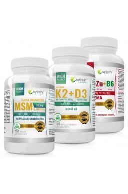 Zestaw ZMA + MSM 500 mg + K2 100mcg MK-7 z natto + D3 50mcg 2000IU in MCT oil