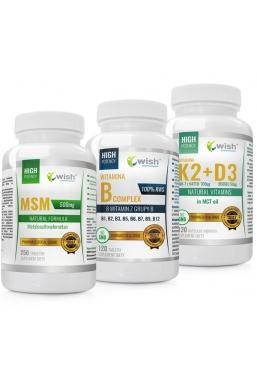 Zestaw MSM 500 mg + Witamina B Complex + K2 100mcg MK-7 z natto + D3 50mcg 2000IU in MCT oil