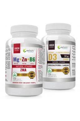 ZMA Magnez + Cynk+B6 + Witamina D3 50µg 2000IU 240 sztuk