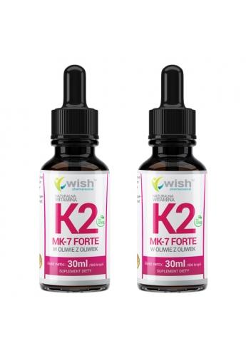 Naturalna Witamina K2 MK-7 Forte w Płynie Krople 2x 30ml/1800 Kropli Dla Wegan
