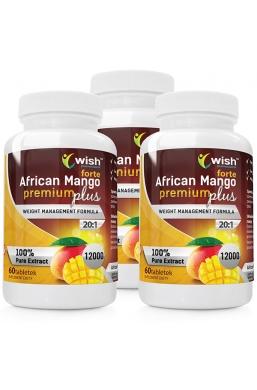 3 sztuki w cenie 2 African Mango Premium Plus 6000mg - Afrykańskie Mango 180 tabletek