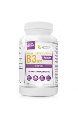 Niacyna Witamina B3 (PP) 500mg + Prebiotyk 120 kapsułek Produkt Vege