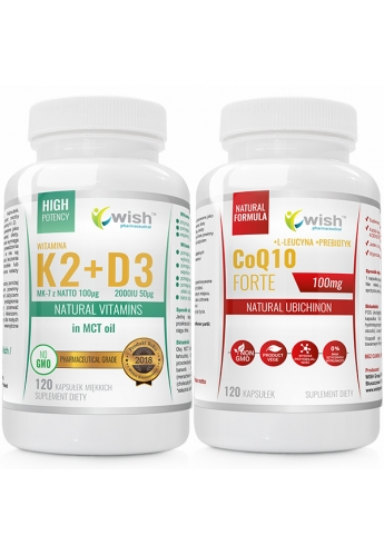 Zestaw KOENZYM Q10 + K2 100mcg MK-7 z natto + D3 50mcg 2000IU in MCT oil
