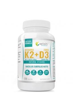 Naturalna Witamina K2 MK-7 z Natto 100mcg + D3 2000IU 50mcg 120 tabletek