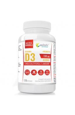 Naturalna Witamina D3 4000IU 100mcg 120 kapsułek + Prebiotyk +L-Leucyna