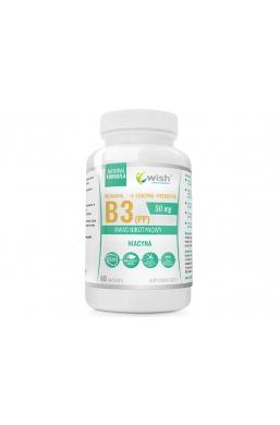 Niacyna Witamina B3 (PP) 50mg Kwas Nikotynowy+ Inulina 60 kapsułek Produkt Vege