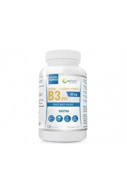 Niacyna Witamina B3 (PP) 50mg Kwas Nikotynowy+ Prebiotyk 120 kapsułek Produkt Vege