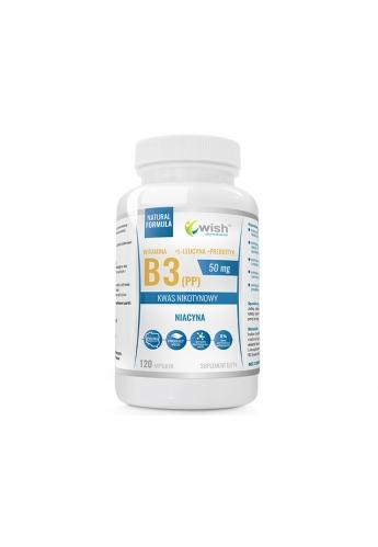 Niacyna Witamina B3 (PP) 50mg Kwas Nikotynowy+ Inulina 120 kapsułek
