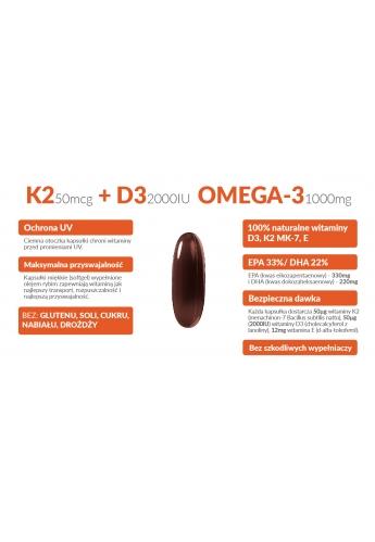 Witamina K2 MK-7 + D3 50mcg 2000IU+ OMEGA-3 Vit E 90 Kapsułek Miękkich