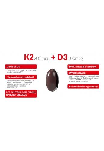 Witamina K2 MK-7 200mcg + D3 4000IU 100mcg w oleju MCT (olej kokosowy) 120 kapsułek