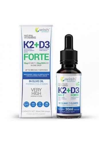 Witamina K2 MK-7 + D3 Forte 2000IU w Płynie 30ml dla Wegan