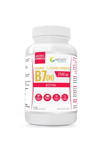 Biotyna Witamina B7 (H) 2500µg + Prebiotyk dla Wegan 120 kapsułek