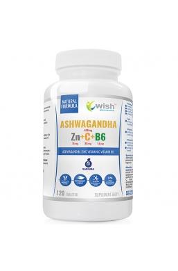 Ashwagandha + Cynk + Witamina C+ Witamina B6 120 tabletek